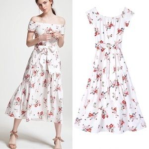 Rebecca Taylor Floral Off The Shoulder Midi Dress